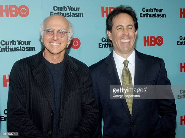"""Larry David and Jerry Seinfeld attend """"Curb Your Enthusiasm"""" Season 7 New York screening at the Time Warner Screening Room on September 30, 2009 in..."""