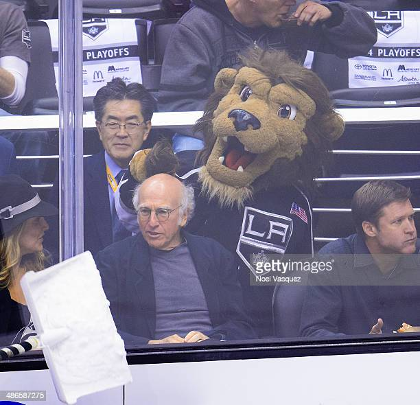 Larry David attends an NHL playoff game between the San Jose Sharks and the Los Angeles Kings at Staples Center on April 24, 2014 in Los Angeles,...