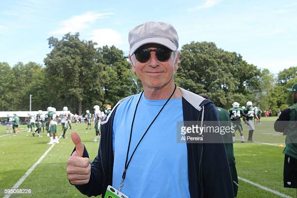 Larry David attends the New York Jets practice at Atlantic Health Jets Training Center on August 17 2016 in Florham Park New Jersey