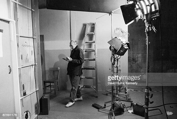 Larry David cocreator of the hit televison show Seinfeld reads backstage while shooting the lat few episodes 1998 in Los Angeles California
