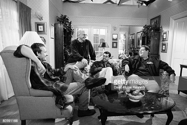 Larry David cocreator of the television series Seinfeld with the writers in between filming the last episodes on April 15 1998 in Houston Texas