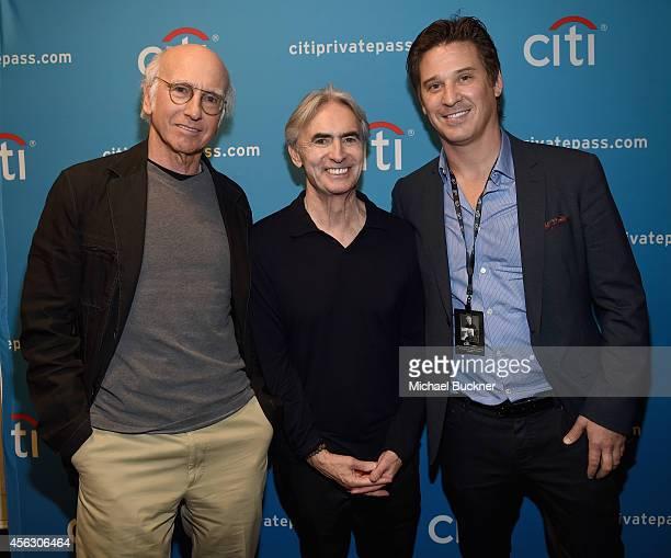 Larry David David Steinberg and SVP Entertainment Marketing Citi David Kovach attend Larry David And David Steinberg In Conversation presented by...
