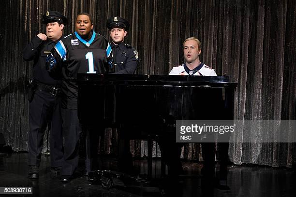 LIVE Larry David Episode 1695 Pictured Bobby Moynihan Kenan Thompson as Cam Newton Beck Bennett and Taran Killam as Peyton Manning during the Peyton...