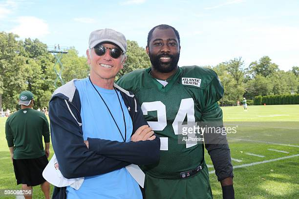 Larry David meets with Cornerback Darrelle Revis when he attends the New York Jets practice at Atlantic Health Jets Training Center on August 17 2016...