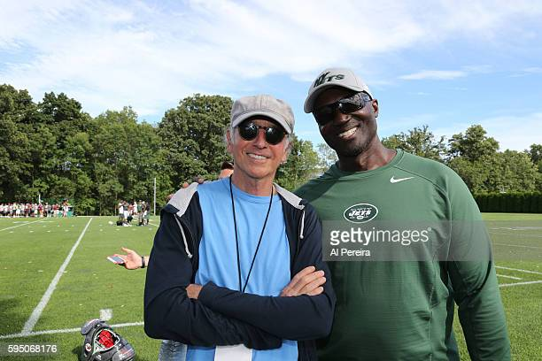 Larry David meets with Head Coach Todd Bowles when he attends the New York Jets practice at Atlantic Health Jets Training Center on August 17 2016 in...