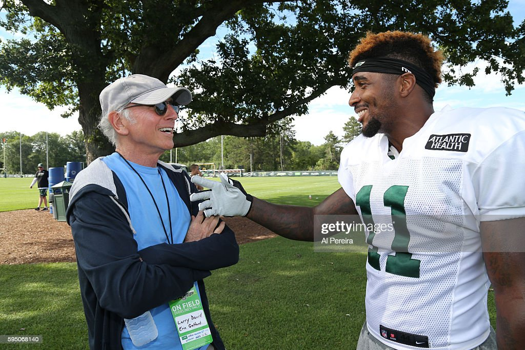 Larry David Attends The New York Jets Training Camp
