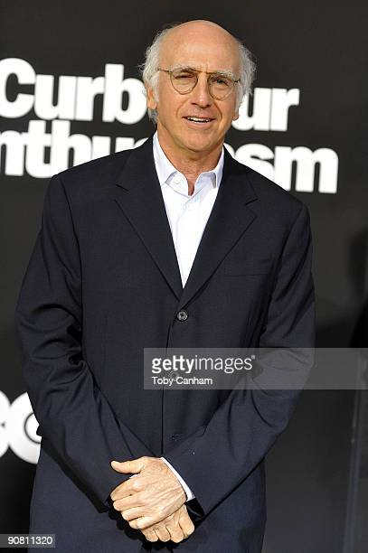 Larry David poses for a picture at the premiere of HBO's Curb Your Enthusiasm season 7 held at Paramount Studios on September 15 2009 in Los Angeles...