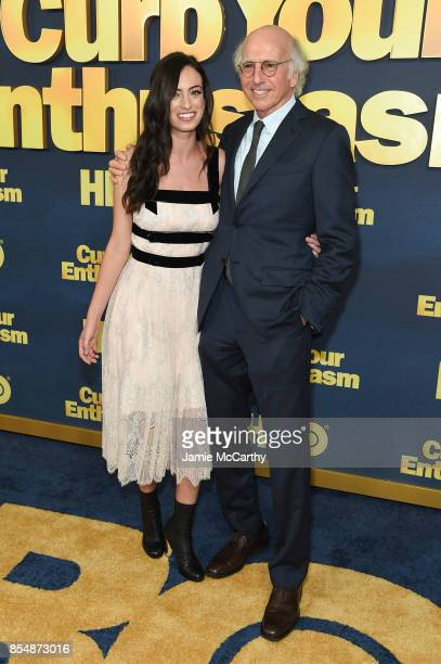 Larry David poses with his daughter Cazzie David at the Curb Your Enthusiasm season 9 premiere at SVA Theater on September 27 2017 in New York City