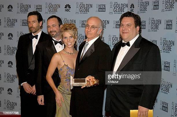 Larry David second from right and others from Curb Your Enthusiasm winner of best television seriesmusical or comedy