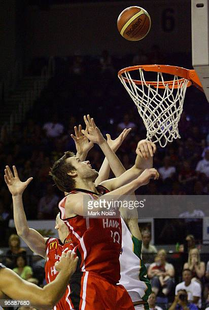Larry Davidson of the Hawks attempts to rebound during the round 17 NBL match between the Wollongong Hawks and the Townsville Crocodiles at...