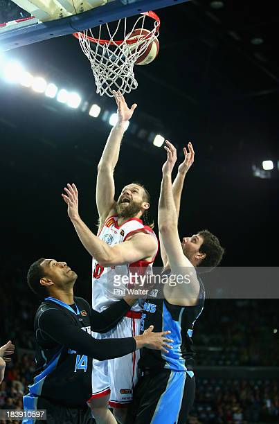 Larry Davidson of the Hawks lays up the ball during the round one NBL match between the New Zealand Breakers and the Wollongong Hawks at Vector Arena...