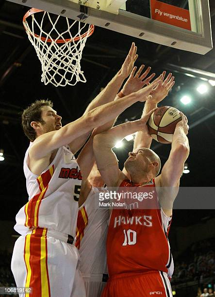 Larry Davidson of the Hawks under pressure from the Tigers defence during the round five NBL match between the Wollongong Hawks and the Melbourne...