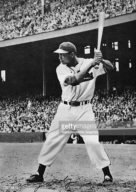 Larry Doby Cleveland Indians left fielder is in the batters box during a game at Municipal Stadium in Cleveland during the 1949 season