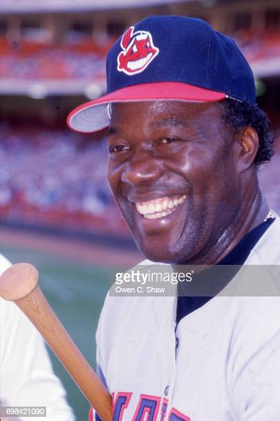 Larry Doby of the Cleveland Indians at a Old Timers game at Anaheim Stadium circa 1986 in AnaheimCalifornia