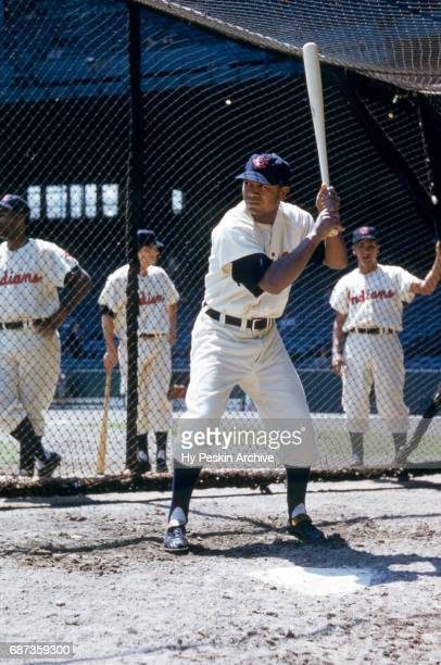 Larry Doby of the Cleveland Indians hits in the batting cage before an MLB game against the Chicago White Sox on May 26 1955 at Cleveland Municipal...