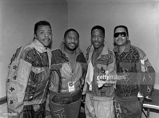 Larry Dodson James Alexander Winston Stewart and Harvey Henderson of the BarKays poses for a photo after their performance at the RR Convention at...