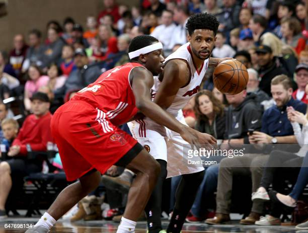 Larry Drew II from the Sioux Falls Skyforce looks to make a move against Josh Hagins from the Maine Red Claws at the Sanford Pentagon March 3 2017 in...