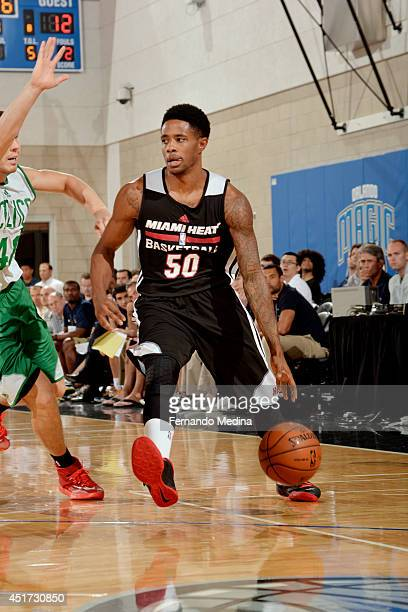 Larry Drew II of the Miami Heat drives against the Boston Celtics on July 5 2014 at Amway Center in Orlando Florida NOTE TO USER User expressly...