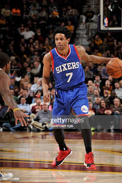 Larry Drew II of the Philadelphia 76ers dribbles the ball against the Cleveland Cavaliers on February 2 2015 at Quicken Loans Arena in Cleveland Ohio...