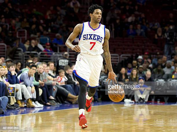 Larry Drew II of the Philadelphia 76ers dribbles the ball in the game against the New Orleans Pelicans on January 16 2015 at the Wells Fargo Center...
