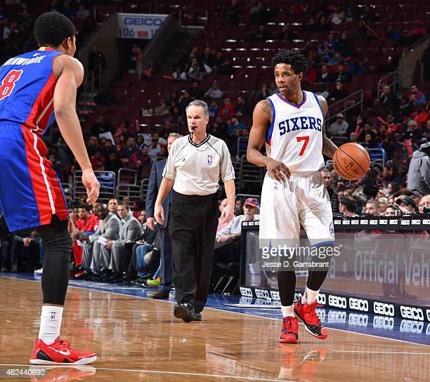 Larry Drew II of the Philadelphia 76ers dribbles the ball while looking to pass against the Detroit Pistons at Wells Fargo Center on January 28 2015...
