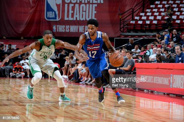 Larry Drew II of the Philadelphia 76ers drives to the basket against the Boston Celtics on July 11 2017 at the Thomas Mack Center in Las Vegas Nevada...