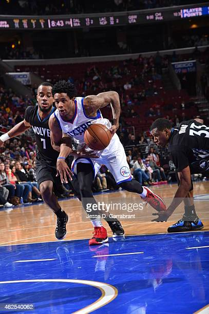 Larry Drew II of the Philadelphia 76ers goes up for the shot against the Minnesota Timberwolves at Wells Fargo Center on January 30 2015 in...