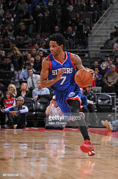 Larry Drew II of the Philadelphia 76ers handles the ball against the Detroit Pistons during the game on January 17 2015 at The Palace of Auburn Hills...