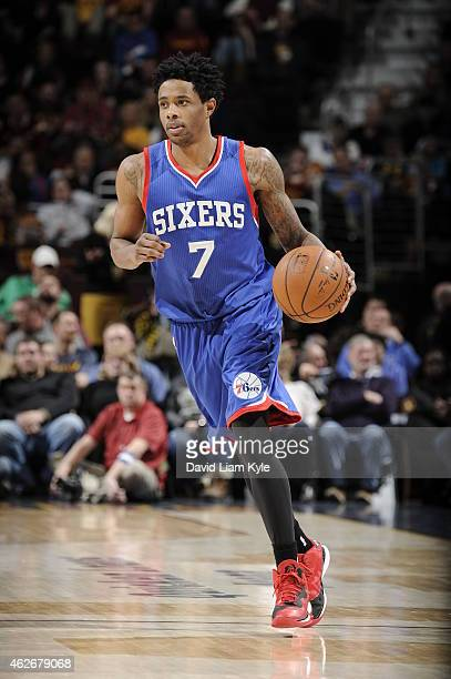 Larry Drew II of the Philadelphia 76ers handles the ball against the Cleveland Cavaliers during the game on February 2 2015 at Quicken Loans Arena in...