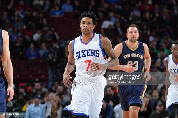 Larry Drew II of the Philadelphia 76ers looks on against the New Orleans Pelicans at Wells Fargo Center on January 16 2015 in Philadelphia...