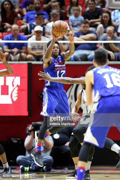 Larry Drew II of the Philadelphia 76ers passes the ball during the game against the San Antonio Spurs during the 2017 Utah Summer League on July 6...
