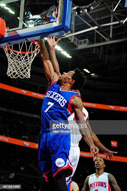 Larry Drew II of the Philadelphia 76ers shoots the ball against the Detroit Pistons during the game on January 17 2015 at The Palace of Auburn Hills...
