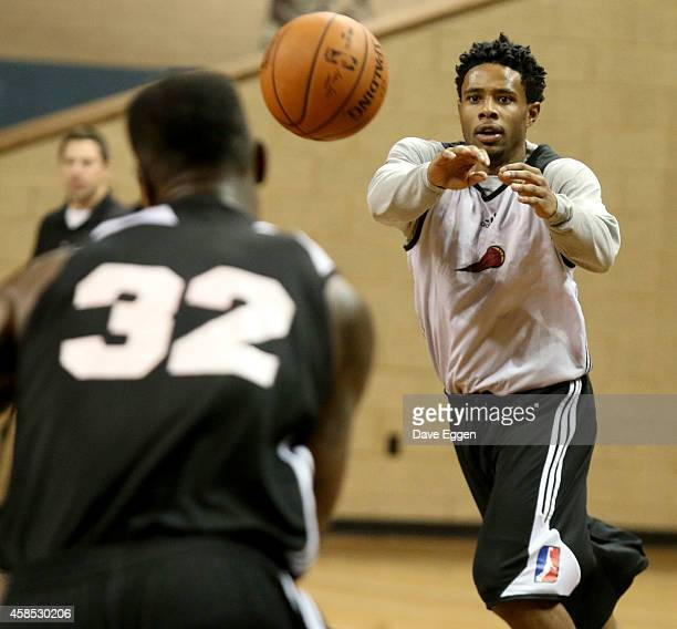 Larry Drew II of the Sioux Falls Skyforce of the NBA DLeague catches a pass during their first practice November 5 2014 at the Sanford Pentagon in...