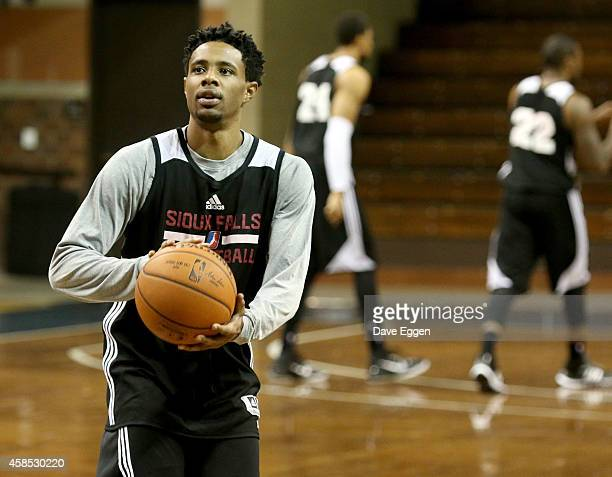 Larry Drew II of the Sioux Falls Skyforce of the NBA DLeague shoots baskets at their first practice November 5 2014 at the Sanford Pentagon in Sioux...