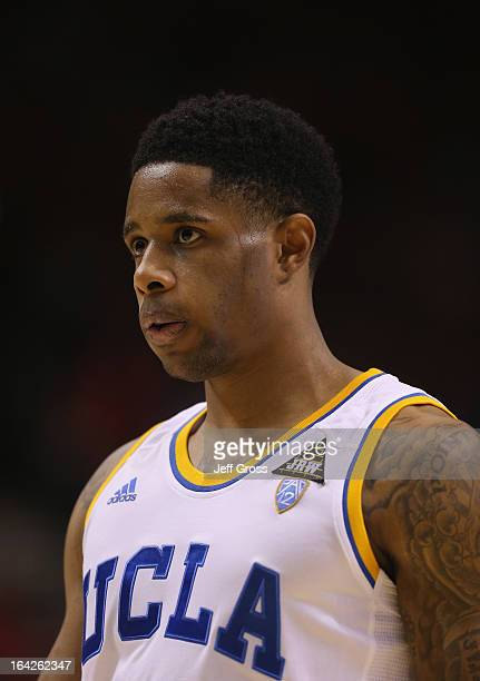 Larry Drew II of the UCLA Bruins looks on against the Arizona Wildcats during the semifinals of the Pac 12 Basketball Tournament at the MGM Grand...