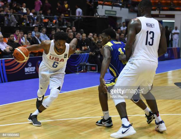 Larry Drew II of United States dribbles the ball during the FIBA Americup semi final match between US and Virgin Islands at Orfeo Superdomo arena on...