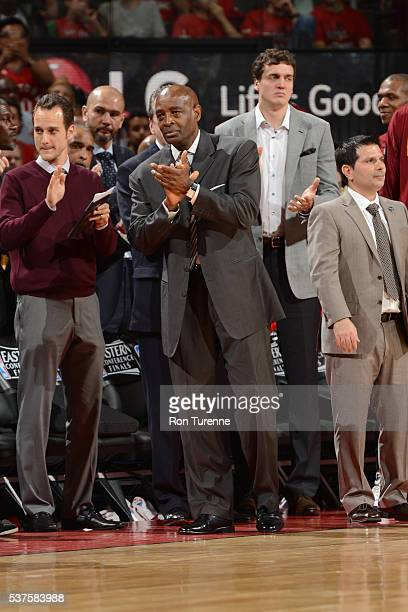 Larry Drew of the Cleveland Cavaliers coaches during Game Six of the NBA Eastern Conference Finals against the Toronto Raptors at Air Canada Centre...