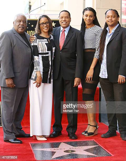 Larry Elder and his family attend the ceremony honoring Larry Elder with a Star on The Hollywood Walk of Fame on April 27 2015 in Hollywood California