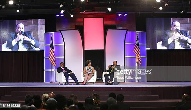 Larry Elder Moderator Tara Wall and Roland Martin attend the Inform Your Vote President Election Debate at The Tabernacle on October 8 2016 in...