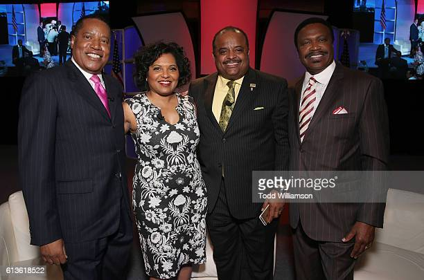 Larry Elder Moderator Tara Wall Roland Martin and Bishop Kenneth Ulmer attend the Inform Your Vote President Election Debate at The Tabernacle on...