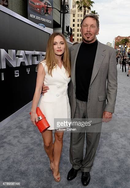 Larry Ellison and Nikita Kahn arrive at the premiere Of Paramount Pictures' 'Terminator Genisys' at Dolby Theatre on June 28 2015 in Hollywood...