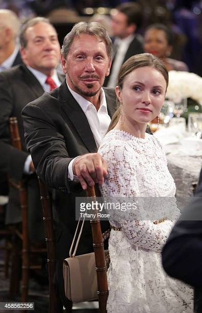 Larry Ellison and Nikita Kahn attend the Friends Of The Israel Defense Forces 2014 Western Region Gala at The Beverly Hilton Hotel on November 6 2014...