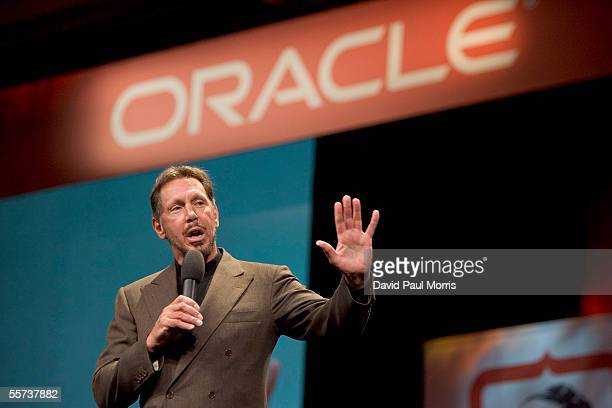 Larry Ellison CEO of Oracle delivers a keynote speech at the Oracle Open World 2005 conference at the Moscone Center on September 21 2005 in San...