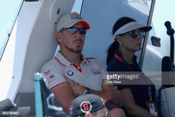 Larry Ellison executive chairman and chief technology officer of Oracle watches day 4 of the America's Cup Match Presented by Louis Vuitton on June...