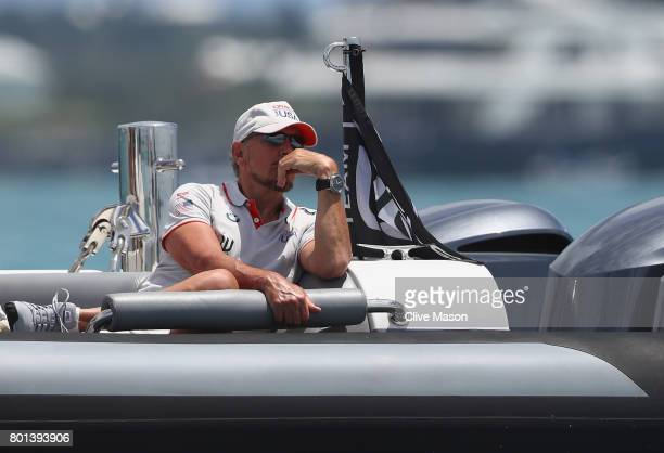 Larry Ellison owner of Oracle Team USA watches the racing during day 5 of the America's Cup Match Presented by Louis Vuitton on June 26 2017 in...