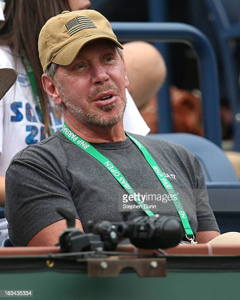 Larry Ellison tournament owner and CEO of Oracle attends the match between Roger Federer of Switzerland and Denis Istomin of Uzbekistan during day 4...
