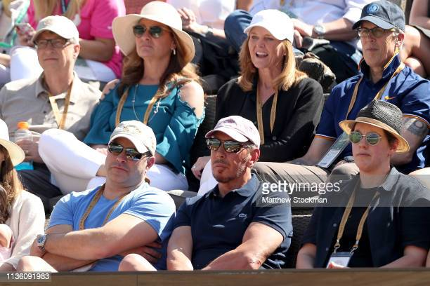 Larry Ellison watches Rafael Nadal of Spain play Karen Khachanov of Russia during the quarterfinals of the BNP Paribas Open at the Indian Wells...