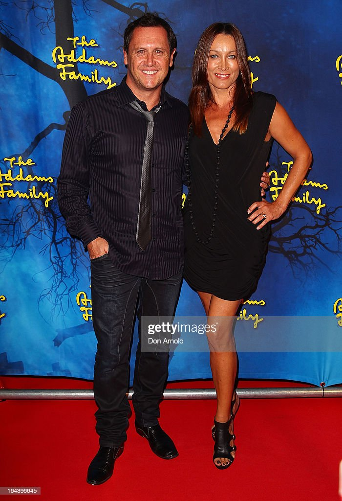 Larry Emdur and Sylvie Emdur arrives for 'The Addams Family' Musical Premiere at the Capitol Theatre on March 23, 2013 in Sydney, Australia.