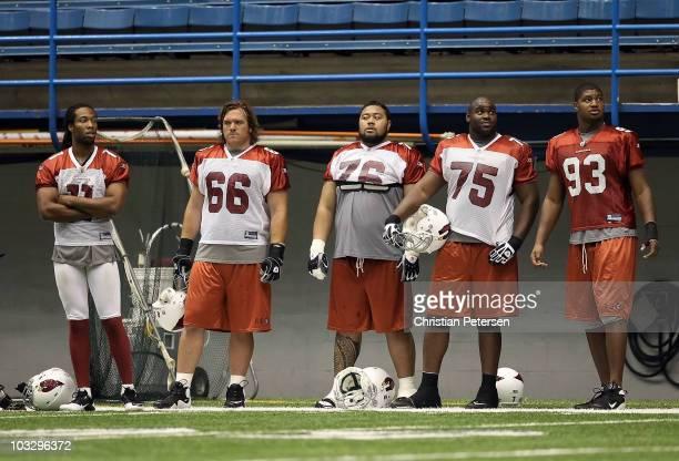 Larry Fitzgerald Alan Faneca Deuce Lutui Levi Brown and Dan Williams of the Arizona Cardinals practice in the team training camp at Northern Arizona...