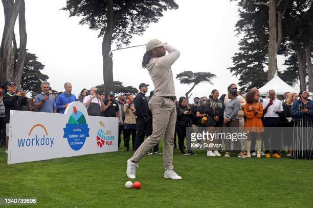 Larry Fitzgerald and Ayesha Curry attend The Workday Charity Classic, hosted by Stephen and Ayesha Curry's Eat. Learn. Play. And Workday, at Franklin...